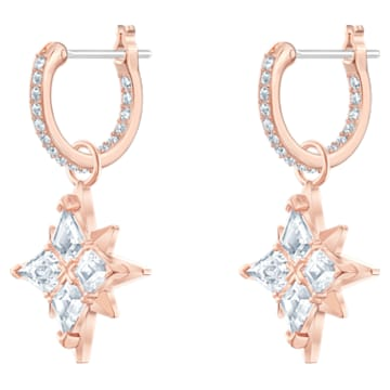 Τρυπητά σκουλαρίκια κρίκοι Swarovski Symbolic Star, λευκά με επικάλυψη χρυσής ροζ απόχρωσης - Swarovski, 5494337