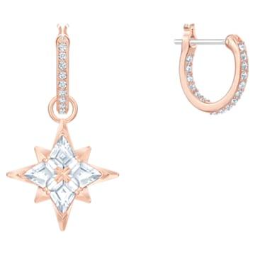 Cercei rotunzi cu șurub Star Hoop Swarovski Symbolic, albi, placați în nuanță aur roz - Swarovski, 5494337