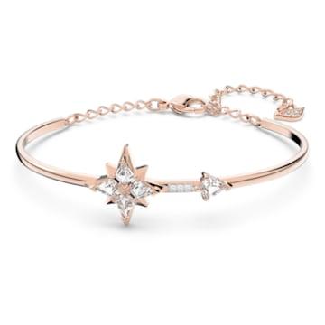 Swarovski Symbolic bangle, Star, White, Rose-gold tone plated - Swarovski, 5494338