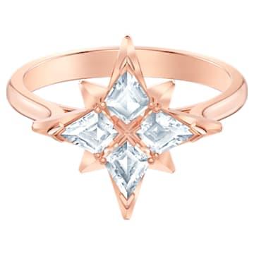 Swarovski Symbolic Star 圖形戒指, 白色, 鍍玫瑰金色調 - Swarovski, 5494346