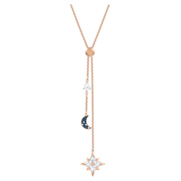 Swarovski Symbolic Y necklace, Moon and star, Blue, Rose-gold tone plated - Swarovski, 5494357