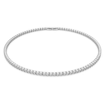 Tennis Deluxe Halskette, weiss, rhodiniert - Swarovski, 5494605