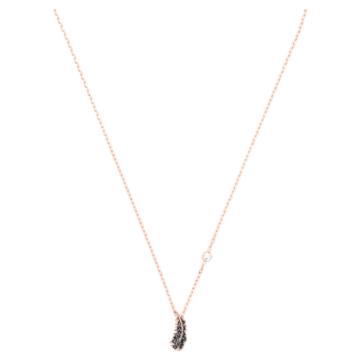 Naughty 項鏈, 黑色, 鍍玫瑰金色調 - Swarovski, 5495292