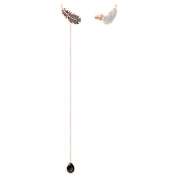 Naughty Pierced Earrings, Black, Rose-gold tone plated - Swarovski, 5495373