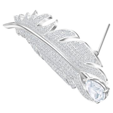 Nice 胸針, 白色, 鍍白金色 - Swarovski, 5495417