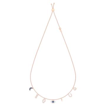 Collana Swarovski Symbolic, Luna, infinito, mano, evil eye e ferro di cavallo, Blu, Placcato color oro rosa - Swarovski, 5497664