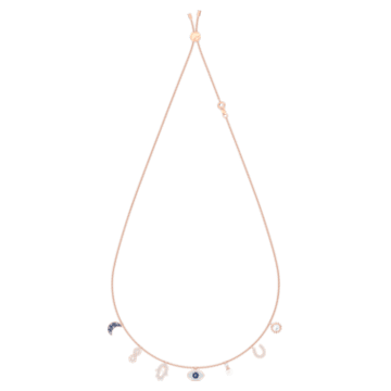 Collier Swarovski Symbolic, Lune, infini, main, œil porte-bonheur et fer à cheval, Bleu, Placage de ton or rosé - Swarovski, 5497664