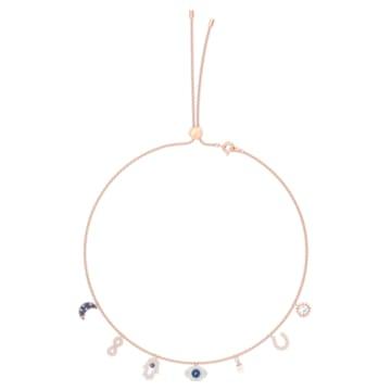 Swarovski Symbolic 項鏈, 月亮、無限符號、手、邪眼和馬蹄鐵, 藍色, 鍍玫瑰金色調 - Swarovski, 5497664