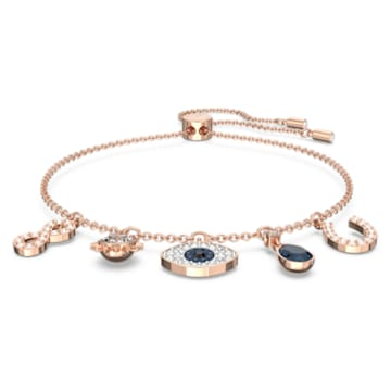 Swarovski Symbolic bracelet, Infinity, evil eye and horseshoe, Blue, Rose-gold tone plated - Swarovski, 5497668