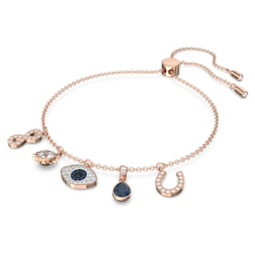 Bracelet Swarovski Symbolic, Infini, œil porte-bonheur et fer à cheval, Bleu, Placage de ton or rosé - Swarovski, 5497668