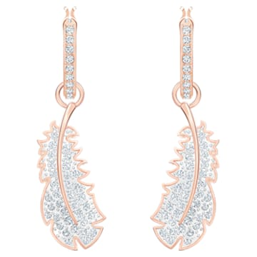 Nice 穿孔耳环, 白色, 镀玫瑰金色调 - Swarovski, 5497872