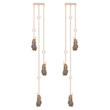 Boucles d'oreilles chandelier Naughty, noir, Métal doré rose - Swarovski, 5497873