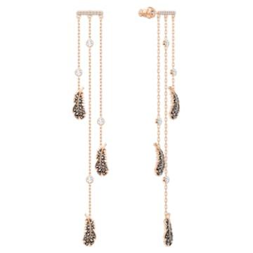 Orecchini chandelier Naughty, nero, Placcato oro rosa - Swarovski, 5497873