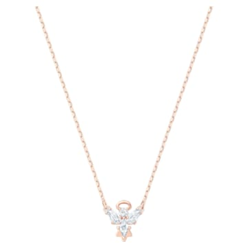 Magic 項鏈, 天使, 白色, 鍍玫瑰金色調 - Swarovski, 5498966