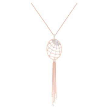 Precisely 项链, 白色, 镀玫瑰金色调 - Swarovski, 5499887