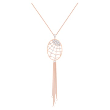 Precisely Necklace, White, Rose-gold tone plated - Swarovski, 5499887