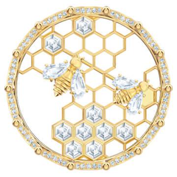 Bee A Queen 胸針, 白色, 鍍金色色調 - Swarovski, 5501079