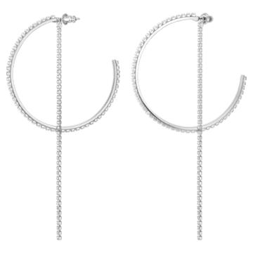 Fit bedugós karika fülbevaló, fehér, rozsdamentes acélból - Swarovski, 5504570