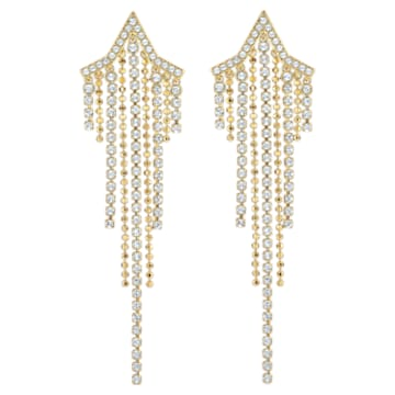 Fit Star Pierced Tassell Earrings, White, Gold-tone plated - Swarovski, 5504571