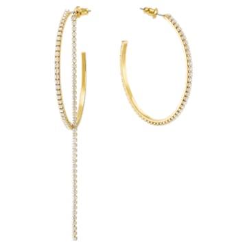 Fit 穿孔耳环, 白色, 镀金色调 - Swarovski, 5504573