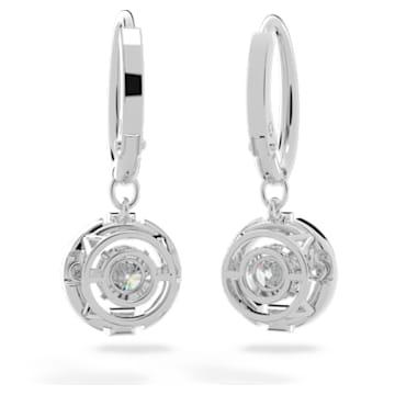 Swarovski Sparkling Dance 이어링, 라운드, 화이트, 로듐 플래팅 - Swarovski, 5504652