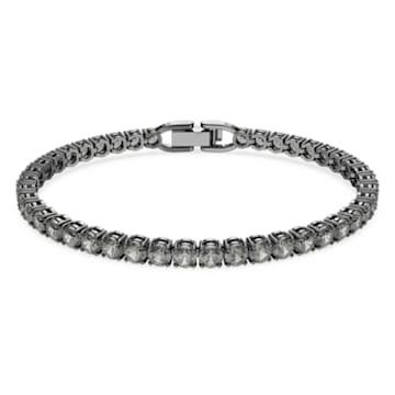Tennis Deluxe-armband, Zwart, Ruthenium toplaag - Swarovski, 5504678