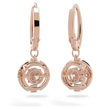 Cercei cu șurub Swarovski Sparkling Dance, albi, placați în nuanță aur roz - Swarovski, 5504753