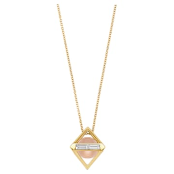 Double Diamond Pendant, Genuine Rose Quartz & Swarovski Created Diamonds, 14K Yellow Gold - Swarovski, 5505359