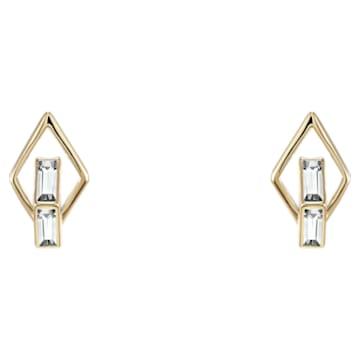 Double Diamond Stud Earrings, Swarovski Created Diamonds, 14K Yellow Gold - Swarovski, 5505361