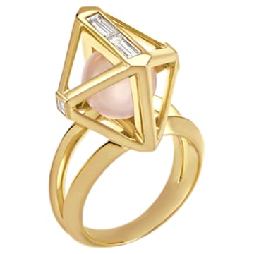 Double Diamond Ring, Created Diamonds, 14K Yellow Gold, Size 55 - Swarovski, 5505364