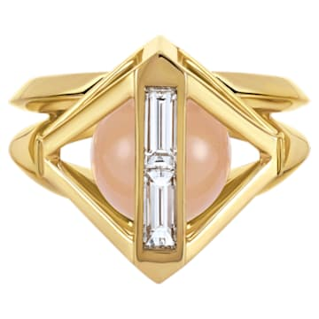 Double Diamond Ring, Created Diamonds, 14K Yellow Gold, Size 58 - Swarovski, 5505366