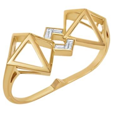 Double Diamond Double Ring, Created Diamonds, 14K Yellow Gold, Size 52 - Swarovski, 5505367