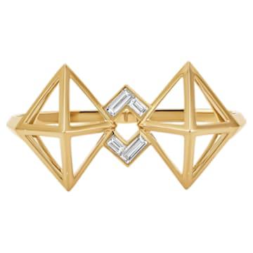 Double Diamond Double Ring, Created Diamonds, 14K Yellow Gold, Size 55 - Swarovski, 5505369