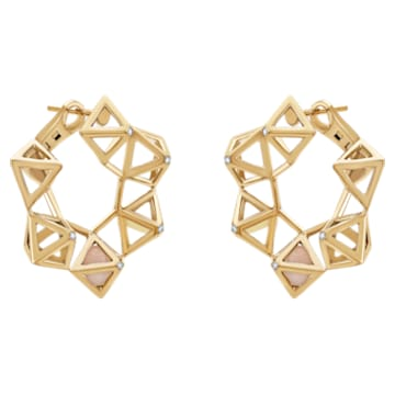 Double Diamond Statement Earrings, Genuine Rose Quartz & Swarovski Created Diamonds, 14K Yellow Gold - Swarovski, 5505371