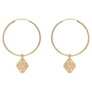 Double Diamond Drop Earrings, Genuine Rose Quartz & Swarovski Created Diamonds, 14K Yellow Gold - Swarovski, 5505372