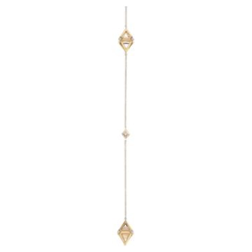 Double Diamond Drop Pendant, Genuine Rose Quartz & Swarovski Created Diamonds, 14K Yellow Gold - Swarovski, 5505380