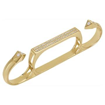 Double Diamond Knuckle Duster Ring, Created Diamonds, 14K Yellow Gold, Size 52 - Swarovski, 5505381