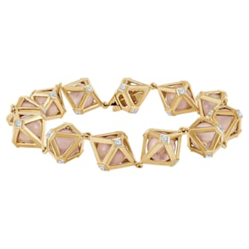 Double Diamond Bracelet, Genuine Rose Quartz & Swarovski Created Diamonds, 14K Yellow Gold - Swarovski, 5505386