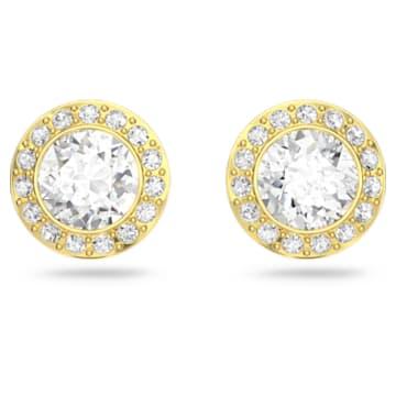 Τρυπητά σκουλαρίκια καρφιά Angelic, λευκά, επιχρυσωμένα σε χρυσή απόχρωση - Swarovski, 5505470
