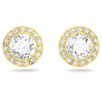 Angelic Stud Pierced Earrings, White, Gold-tone plated - Swarovski, 5505470