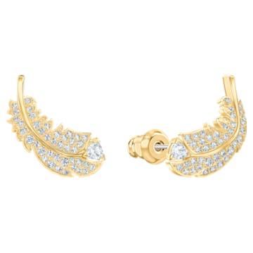 Nice 耳釘, 白色, 鍍金色色調 - Swarovski, 5505623