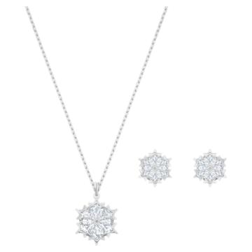 Magic Snowflake szett, fehér, ródium bevonattal - Swarovski, 5506235