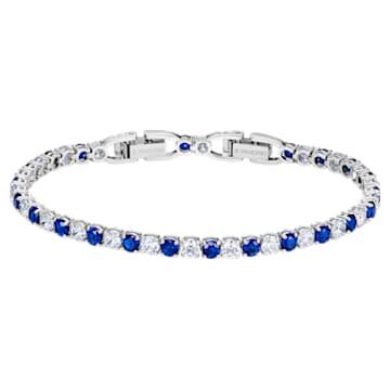 Tennis Deluxe Браслет, Синий Кристалл, Родиевое покрытие - Swarovski, 5506253