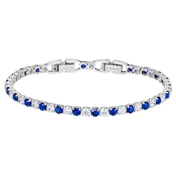Tennis Deluxe Armband, blau, rhodiniert - Swarovski, 5506253
