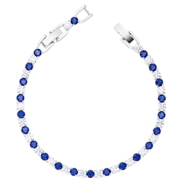 Tennis Deluxe 手链, 蓝色, 镀铑 - Swarovski, 5506253