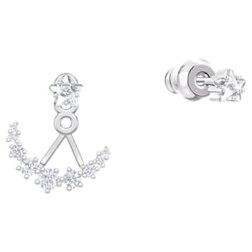 Moonsun 穿孔耳環花托, 白色, 鍍白金色 - Swarovski, 5508832