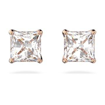 Orecchini a lobo Attract, Cristallo taglio quadrato, piccola, Bianco, Placcato color oro rosa - Swarovski, 5509935
