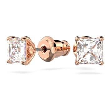 Attract 耳釘, 方形切割Swarovski水晶, 細碼, 白色, 鍍玫瑰金色調 - Swarovski, 5509935