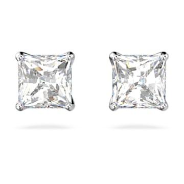 Orecchini a lobo Attract, Cristallo taglio quadrato, piccola, Bianco, Placcato rodio - Swarovski, 5509936