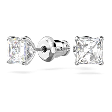 Attract stud earrings, Square cut crystal, Small, White, Rhodium plated - Swarovski, 5509936